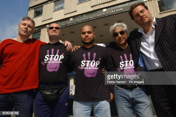 Members of the Fathers 4 Justice protest group outside Paddington Green Police Station West London in support of two fellow members Ron Davis and Guy...