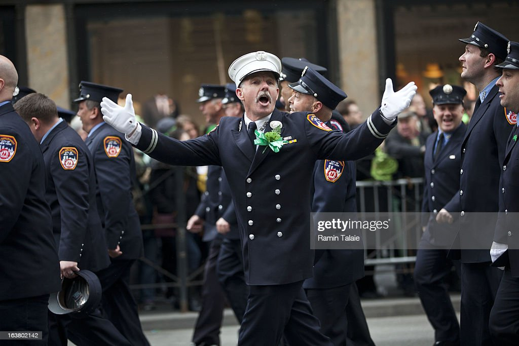 Members of the FDNY march on Fifth Avenue during the 252nd annual St. Patrick's Day Parade March 16, 2013 in New York City. The parade honors the patron saint of Ireland and was held for the first time in New York on March 17, 1762, 14 years before the signing of the Declaration of Independence.