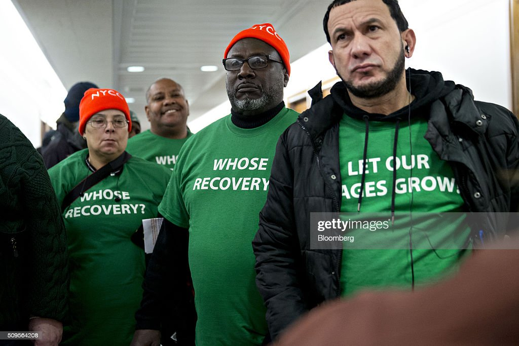Members of the Fed Up coalition wait to enter the Senate Banking Committee hearing room before Janet Yellen, chair of the U.S. Federal Reserve, testifies in Washington, D.C., U.S., on Thursday, Feb. 11, 2016. Yellen said yesterday the Federal Reserve still expects to raise interest rates gradually while making it clear that continued market turmoil could throw the central bank off course from the multiple increases that policy makers have forecast for 2016. Photographer: Andrew Harrer/Bloomberg via Getty Images