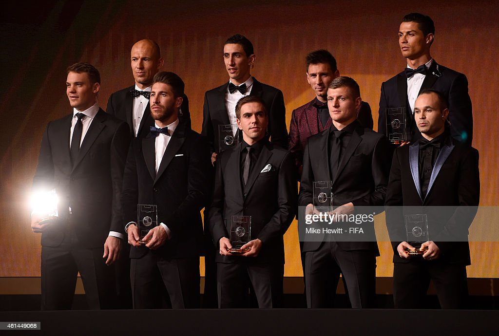 Members of the FIFA/FIFPro World XI for 2014 stand on stage during the FIFA Ballon d'Or Gala 2014 at the Kongresshaus on January 12, 2015 in Zurich, Switzerland.