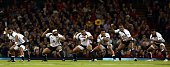 Members of the Fijian rugby team perform the `Cibi` prior to the Autumn International rugby union Test match between Wales and Fiji at the Millennium...