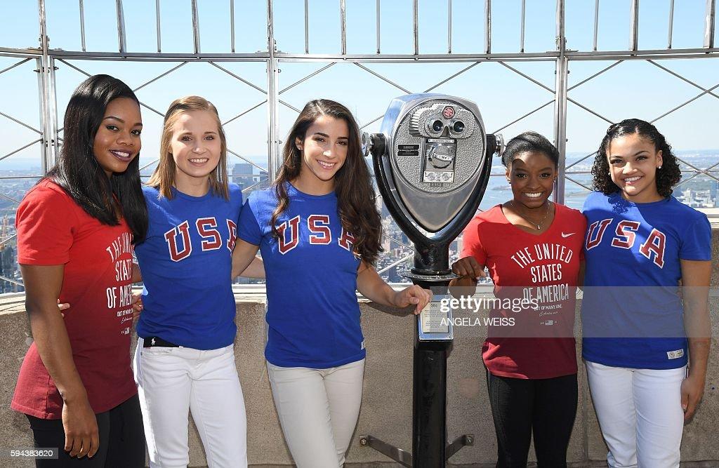 Members of the 'Final Five' US Women's Gymnastics Olympic Team Gabby Douglas Madison Kocian Aly Raisman Simone Biles and Laurie Hernandez visit the...