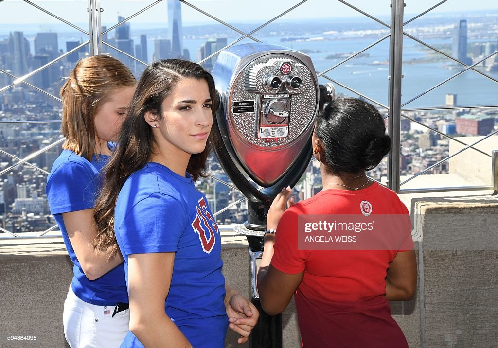 Members of the 'Final Five' US Women's Gymnastics Olympic Team Madison Kocian Aly Raisman and Simone Biles visit the Empire State Building in New...