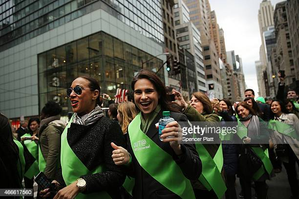 Members of the first openly gay group OUT@NBCUniversal make their way up 5th Avenue during New York City's St Patrick's Day Parade on March 17 2015...