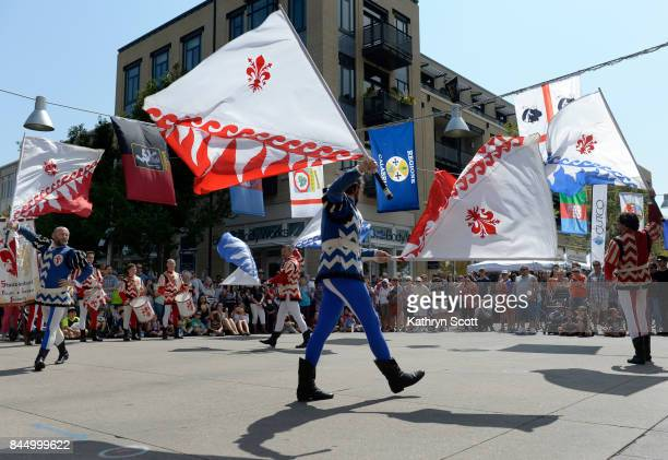 Members of the flag throwing group Sbandieratori dei Borghi e Sestieri Fiorentini perform came all the way from Florence Italy to perform for the...