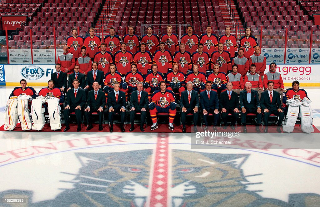 Members of the Florida Panthers pose for the official 2012-2013 team photograph at the BB&T Center on March 8, 2013 in Sunrise, Florida.