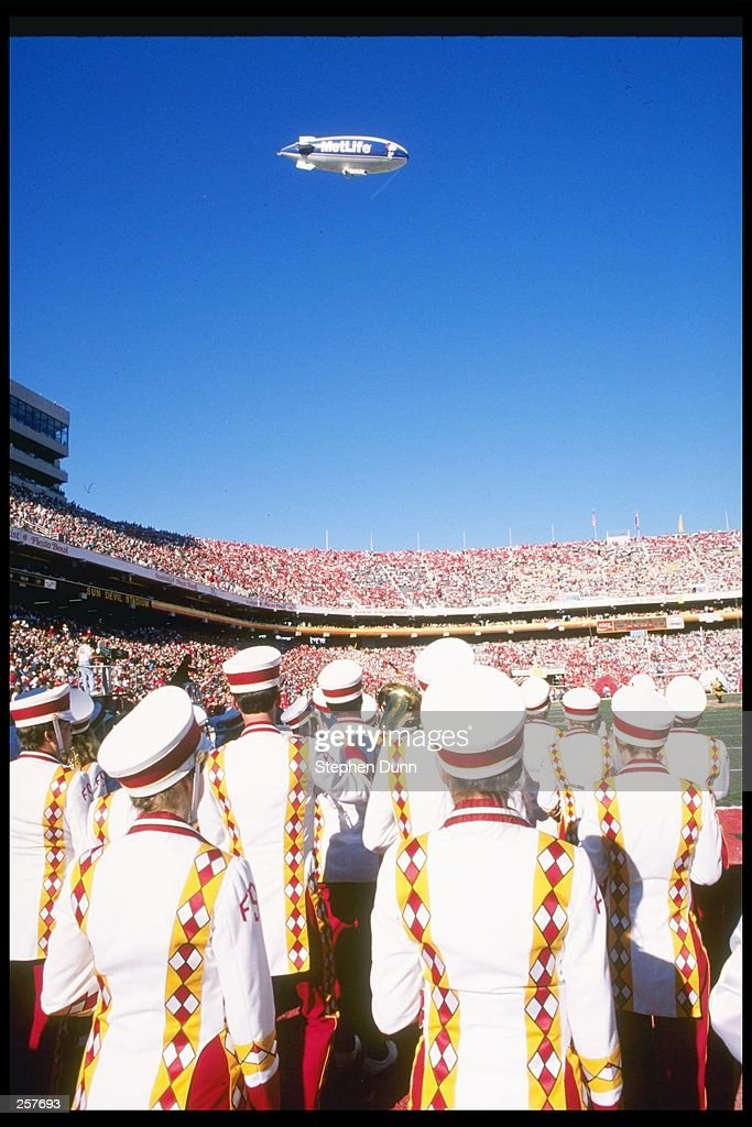 Members of the Florida State Seminoles Marching Band perform during the Fiesta Bowl against the Nebraska Cornhuskers at Sun Devil Stadium in Tempe...