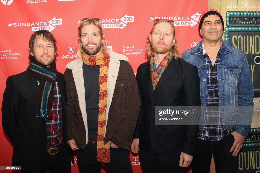 Members of the Foo Fighters including (L-R) Chris Shiflett, Taylor Hawkins, Nate Mendel and Pat Smear attend the 'Sound City' premiere during the 2013 Sundance Film Festival at The Marc Theatre on January 18, 2013 in Park City, Utah.