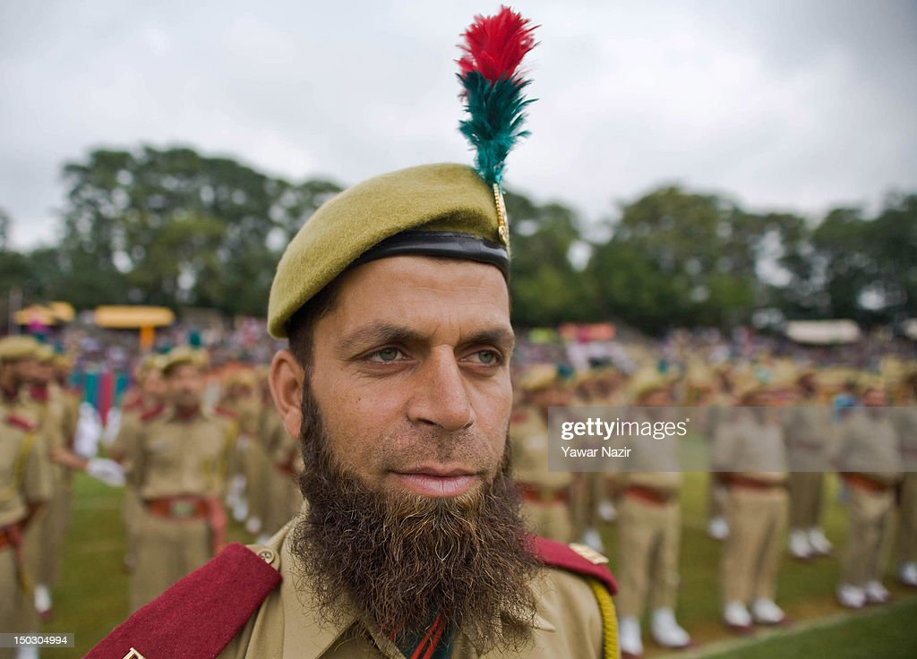 Members of the forest protection force stand in formation during India's Independence Day celebrations on August 15, 2012 in Srinagar, the summer capital of Indian Administered Kashmir. All businesses, schools and shops were closed and traffic remained off the roads following a strike call given by Kashmiri separatist leaders against India's Independence Day celebrations in Kashmir. Meanwhile India deployed large numbers of Indian police and paramilitary forces to prevent any incidents during the official celebrations.
