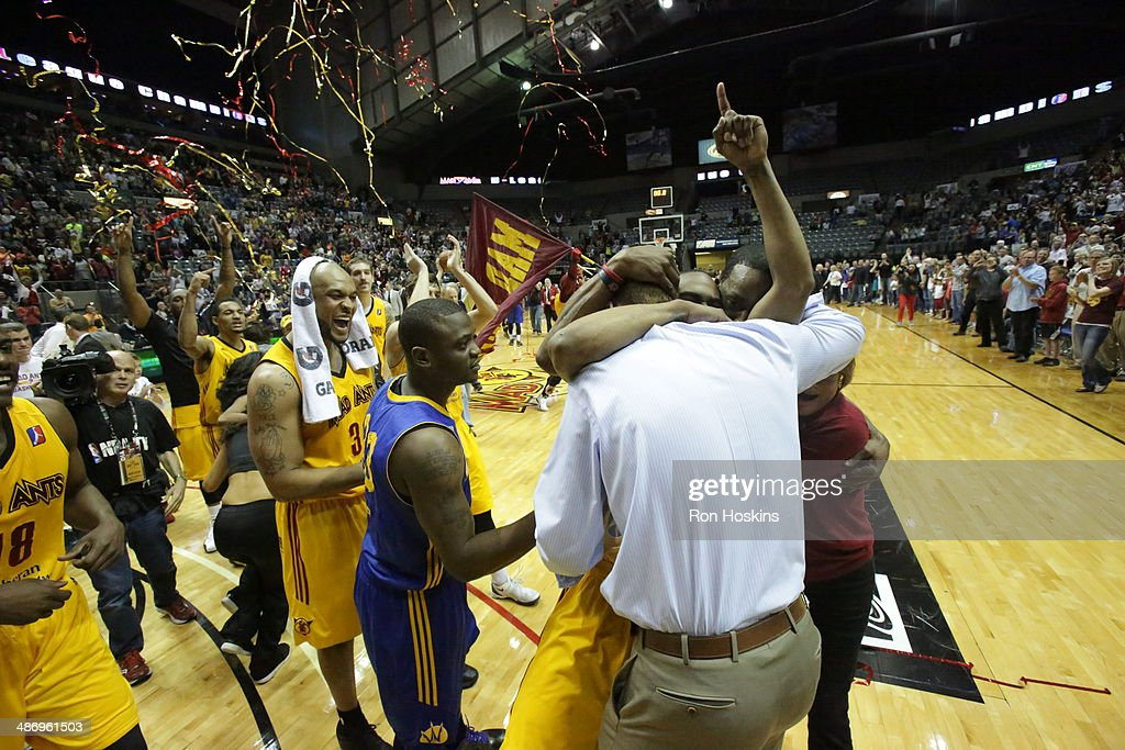 Members of the Fort Wayne Mad Ants celebrate after defeating the Santa Cruz Warriors for the National Basketball Developmental League Championship at Allen County Memorial Coliseum on April 26, 2014 in Fort Wayne, Indiana.