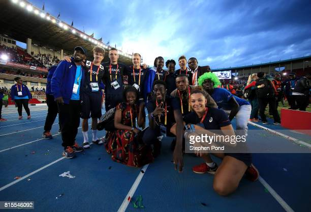 Members of the France team take part in the closing ceremony during day five of the IAAF U18 World Championships on July 16 2017 in Nairobi Kenya