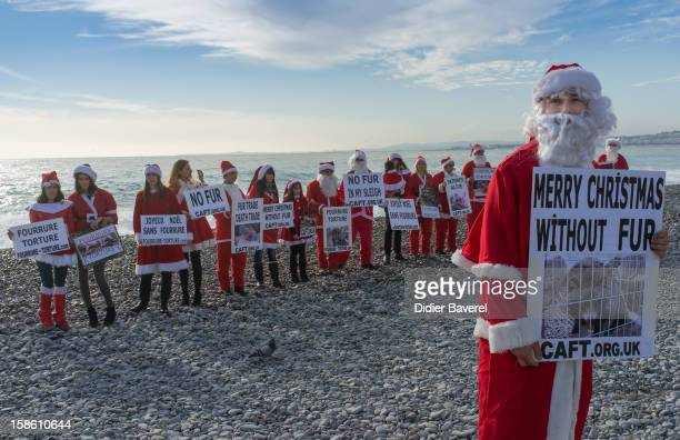 Members of the french antifur group 'The Coalition to Abolish the Fur Trade'' in Santa Claus clothes denounce the horror and suffering that is hidden...