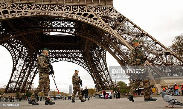 Members of the French Foreign Legion guard near the Eiffel Tower on Monday Nov 16 2015