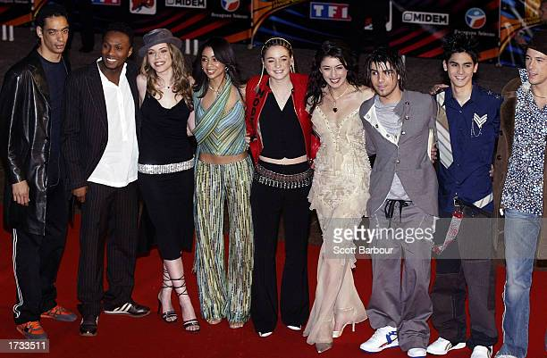 Members of the French television program 'Star Academy 2' arrive for the 4th NRJ Music Awards 2003 at the Palais des Festivals January 18 2003 in...