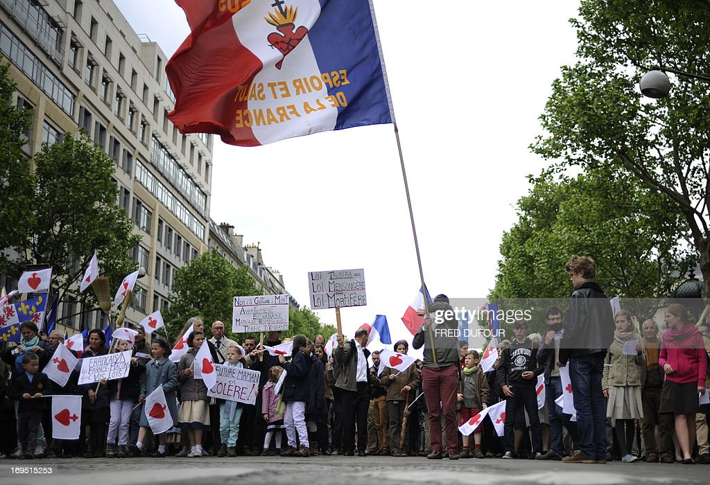 Members of the fundamentalist christian group Civitas Institute take part in a separate rally near the Opera Garnier in Paris during a mass protest...