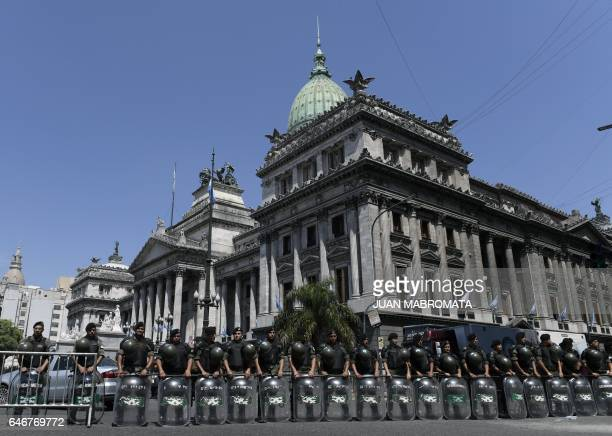 TOPSHOT Members of the Gendarmerie guard the Congress during the inauguration of the 135th period of ordinary legislative sessions in Buenos Aires on...