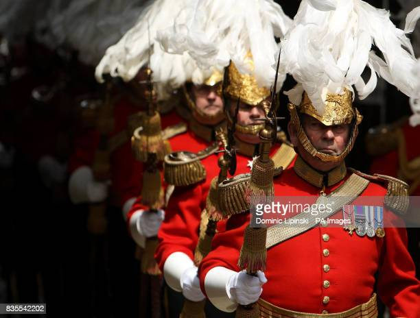 Members of the Gentlemen at Arms in Colour Court at St James's Palace London at a parade to mark the 500th anniversary of the institution of the...