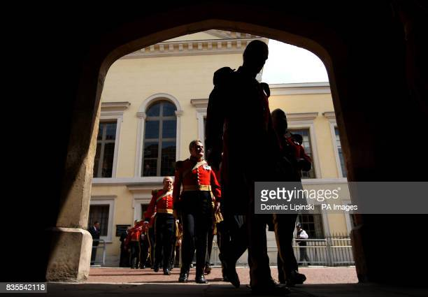 Members of the Gentlemen at Arms leave the Queen's Chapel in St James's at St James's Palace London as part of a parade to mark the 500th anniversary...