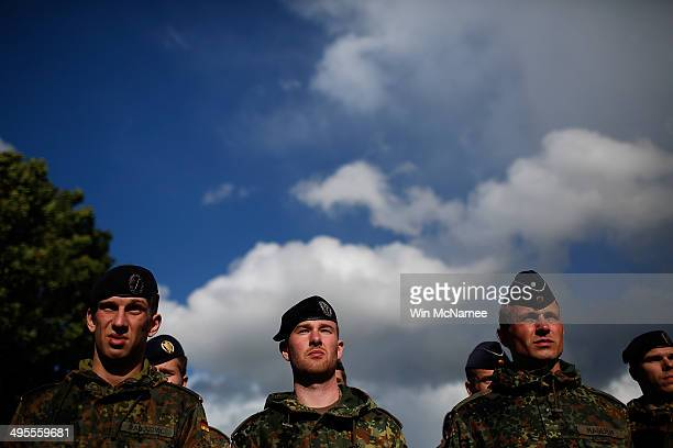Members of the German army march in a military parade marking the week of DDay June 4 2014 in Carentan France June 6th is the 70th anniversary of the...