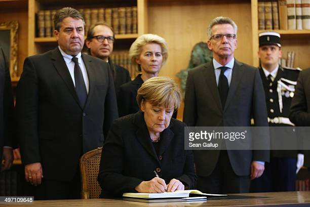 Members of the German government including German Chancellor Angela Merkel Vice Chancellor and Economy and Energy Minister Sigmar Gabriel and...