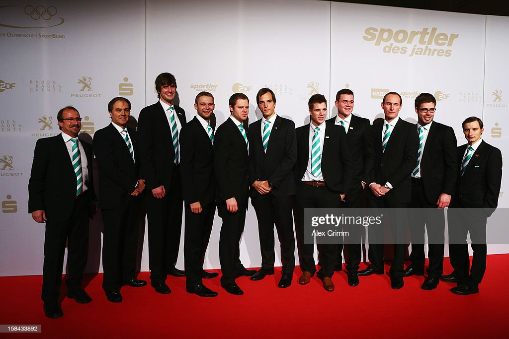 Members of the German men's eight rowing team pose during the 'Athlete of the Year 2012' gala at the Kurhaus Baden-Baden on December 16, 2012 in Baden-Baden, Germany.