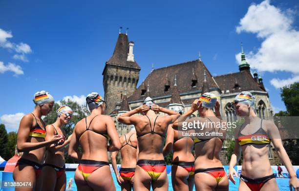 Members of the German Women Synchronised Swimming team prepare for a training session ahead of the FINA World Championship on July 13 2017 in...
