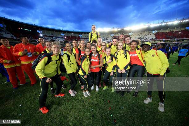 Members of the Germany team take part in the closing ceremony during day five of the IAAF U18 World Championships on July 16 2017 in Nairobi Kenya