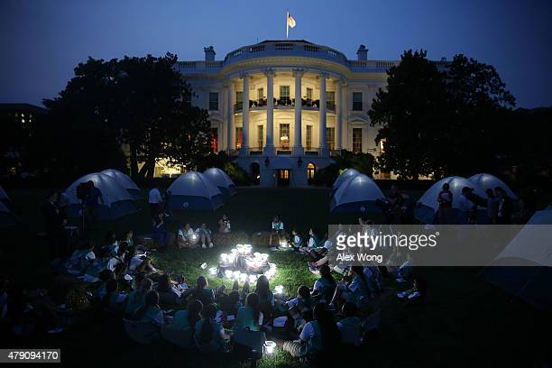 Members of the Girl Scouts participate in the firstever White House Campout June 30 2015 at South Lawn of the White House in Washington DC The first...