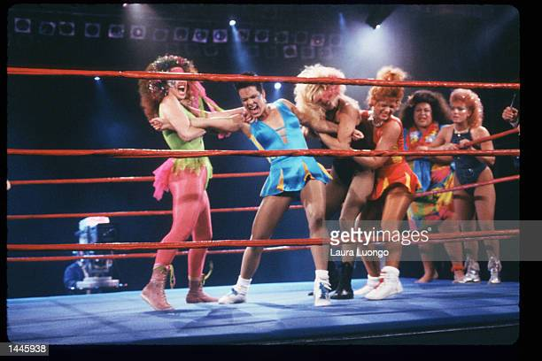 Members of the GLOW Girls wrestle in the ring May 4 1988 in Los Angeles CA Jacqueline Stallone manages the allfemale wrestling team GLOW Girls which...