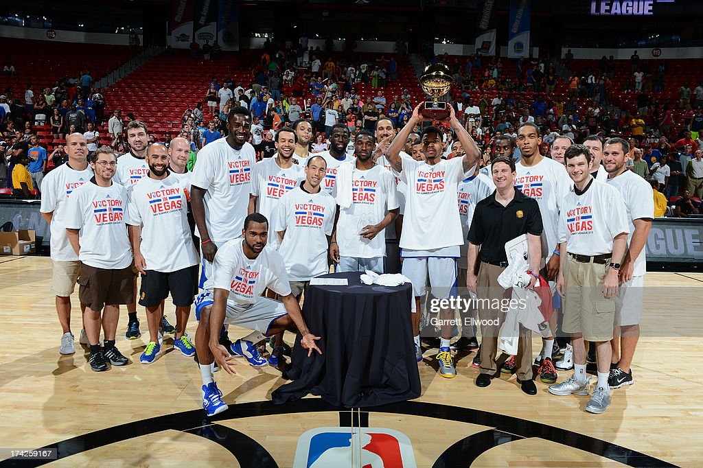 Members of the Golden State Warriors hold up their Trophy after winning the Championship game against the Phoenix Suns during NBA Summer League Championship Game on July 22, 2013 at the Cox Pavilion in Las Vegas, Nevada.