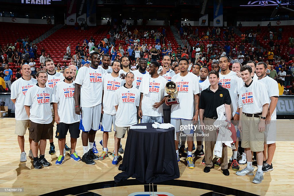 Members of the Golden State Warriors pose for a photograph after the game against the Phoenix Suns during NBA Summer League Championship Game on July 22, 2013 at the Cox Pavilion in Las Vegas, Nevada.