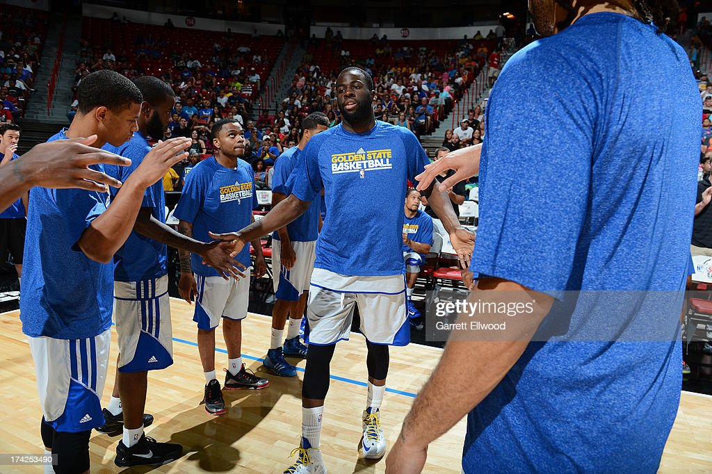 Members of the Golden State Warriors walk onto the court against the Phoenix Suns during NBA Summer League Championship Game on July 22, 2013 at the Cox Pavilion in Las Vegas, Nevada.