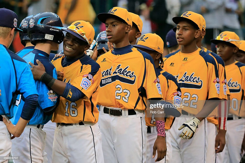 Members of the Great Lakes Team from Chicago, Illinois shakes hands with members of the West Team from Las Vegas, Nevada following their 7-5 win during the United States Championship game of the Little League World Series at Lamade Stadium on August 23, 2014 in South Williamsport, Pennsylvania.