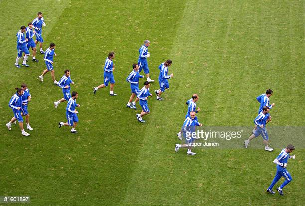 Members of the Greek national team run during a training session at Stadion WalsSiezenheim on June 17 2008 in Salzburg Austria Greece plays in Group...