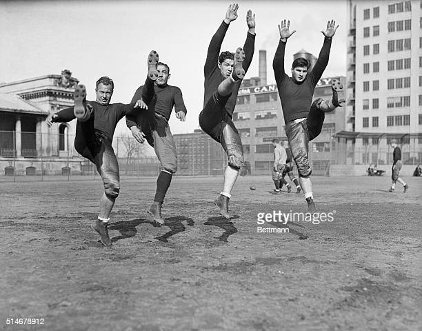 Members of the Green Bay Packers football team practice kicking at DeWitt Clinton Park in preparation for their game against the New York Giants on...