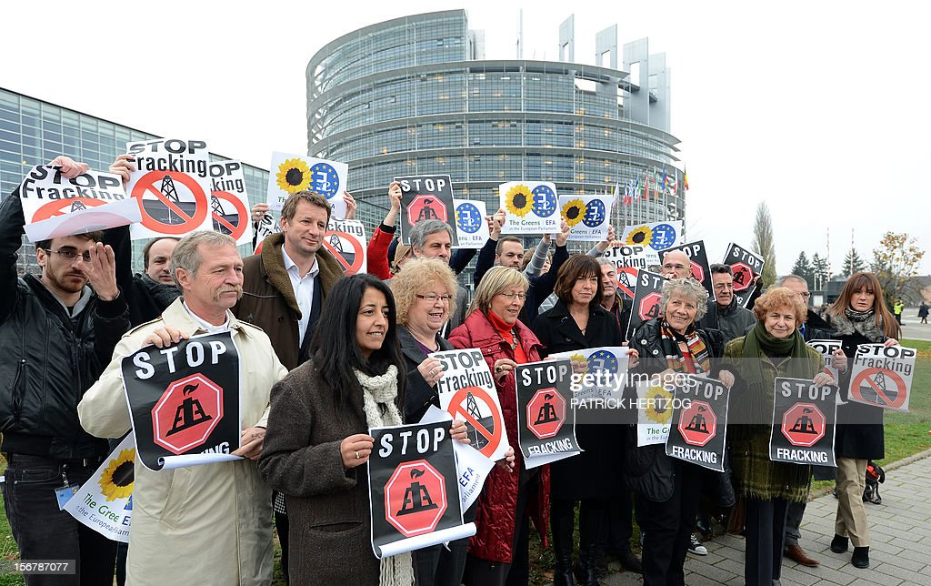 Members of the Greens/European Free Alliance group of the European Parliament hold banners reading 'stop fracking' before a vote in a plenary session of the European parliament on two initiative reports on shale gas, in Strasbourg, eastern France, on November 21, 2012.
