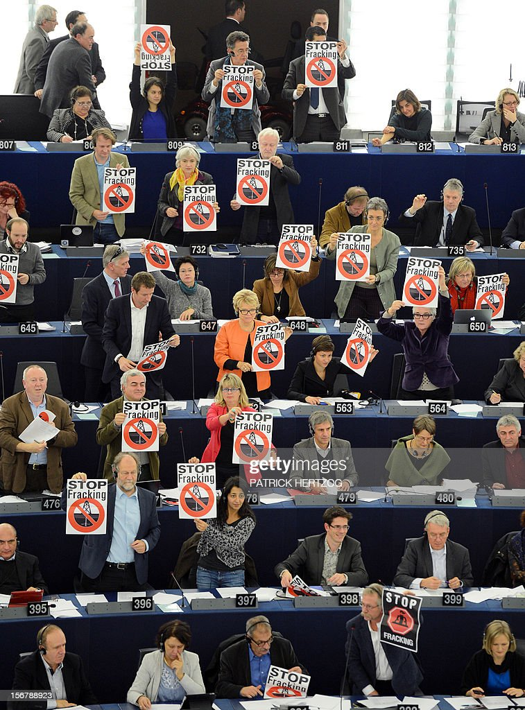 Members of the Greens/European Free Alliance group of the European Parliament hold banners reading 'stop fracking' during a vote in a plenary session of the European parliament on two initiative reports on shale gas, in Strasbourg, eastern France, on November 21, 2012. AFP PHOTO / PATRICK HERTZOG