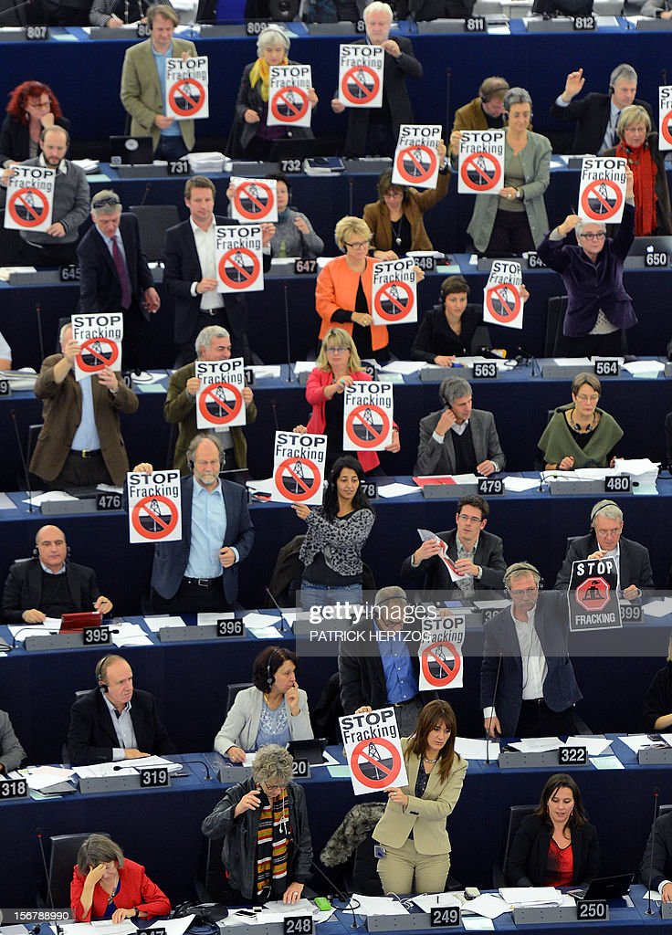 Members of the Greens/European Free Alliance group of the European Parliament hold banners reading 'stop fracking' during a vote in plenary session of the European parliament on two initiative reports on shale gas, in Strasbourg, eastern France, on November 21, 2012. AFP PHOTO / PATRICK HERTZOG