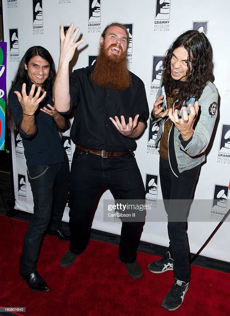 Members of the group Holy Grail (L-R) Eli Santana, Blake Mount and James Luna attend 'Happy On The Ground: 8 Days At Grammy Camp' at The GRAMMY Museum on February 5, 2013 in Los Angeles, California.
