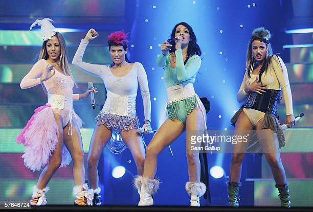 Members of the group Nonstop from Portugal perform at the dress rehearsal prior to the semifinals of the 2006 Eurovision Song Contest May 18 2006 in...