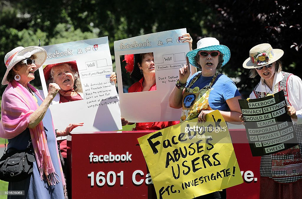 Members of the group Raging Grannies stage a demonstration outside of the FaceBook headquarters June 4, 2010 in Palo Alto, California. The group was calling for the FTC to investigate FaceBook's privacy policies.
