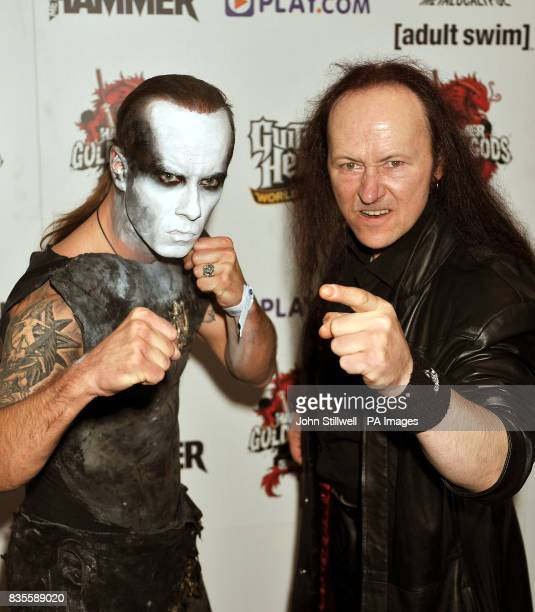 Members of the group Venom arrive at the Indigo concert venue for the Metal Hammer Golden Gods awards at the O2 Arena in Greenwich south East London