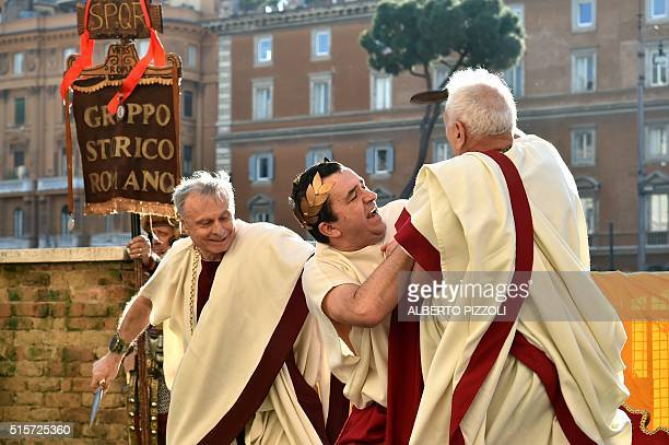 Members of the 'Gruppo Storico Romano' take part in a historical reconstitution of the assassination of Julius Caesar by a group of conspirators led...