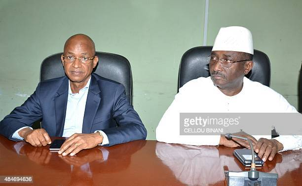 Members of the Guinean opposition Cellou Dalein Diallo leader of the Union of Democratic Forces of Guinea and Sidya Toure leader of the Union of...