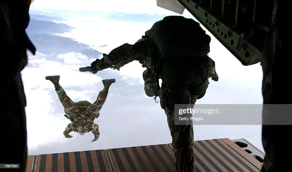 Members of the Headquarters Support Company 3rd Bn, 7th Special Forces Group (Airborne) at Ft. Bragg, N.C., participate in a High Altitude/Low Opening jump from a Chilean C-255 aircraft. More than 30 paratroopers from nine different countries participated in the multinational airdrop during Cabanas 2002 Chile. Cabanas 2002 Chile is a multinational combined readiness training exercise centered around peacekeeping operational tasks. This exercise provides an opportunity for over 1,300 military and civilian personnel from Argentina, Bolivia, Brazil, Chile, Colombia, Ecuador, Paraguay, Peru, Uruguay, and the United States to increase their state of readiness in combined multinational peacekeeping operations and a forum to encourage human rights.