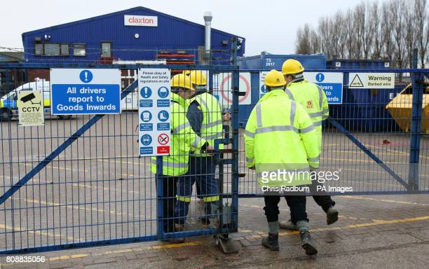 Members of the Health and Safety Executive enter offshore Engineering firm in Great Yarmouth after four workmen died as the steel structure they were...