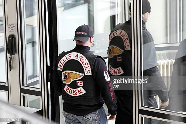 Members of the Hells Angels biker gang leave the court after the opening of the trial against defendant KarlHeinz B on September 14 2010 at court in...