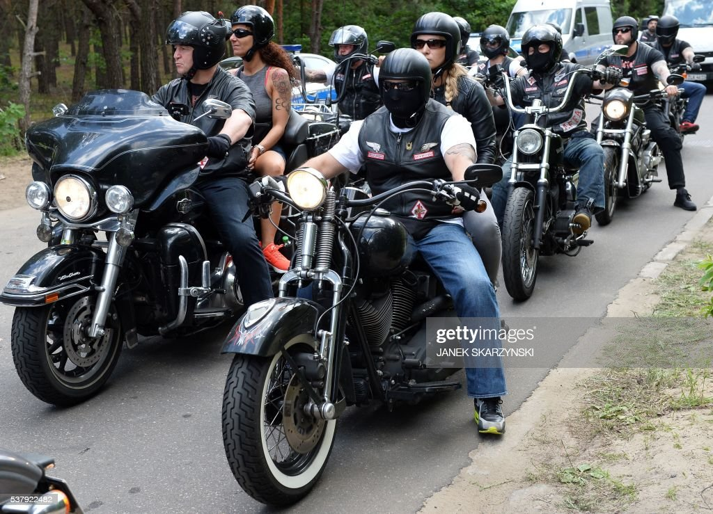 Members Of The Hells Angels Motorcycle Club Arrive For The