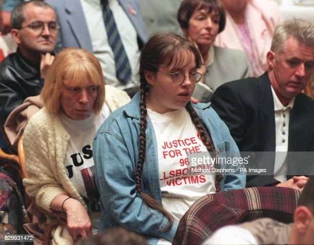 Members of the Hillsborough Family Support Group attend a news conference following today's meeting with Home Secretary Jack Straw The families...