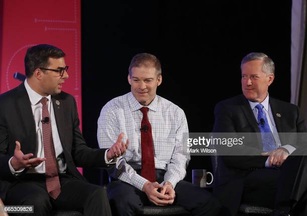 Members of the House Freedom Caucus Rep Justin Amash Rep Jim Jordan and Chairman Mark Meadows participate in a Politico Playbook Breakfast interview...